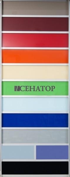 Экспозиционная дверь-купе с демонстрацией линейки образцов цветного стекла Лакобель