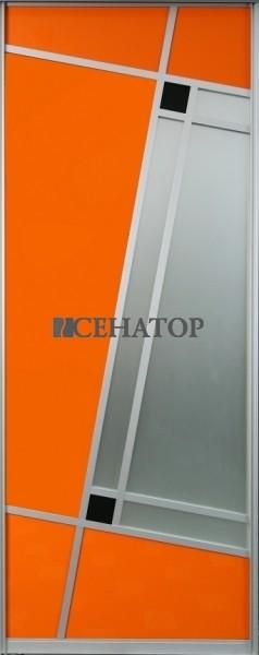 Дверь-купе  «Орандж» со сложной комбинацией профиля ,цветного стекла и матового зеркала