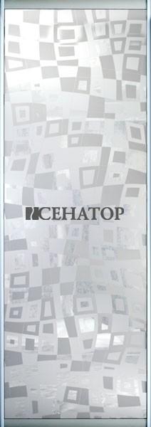 Дверь-купе «Геометрия»Зеркальный рисунок  на матовом бронзовом зеркале