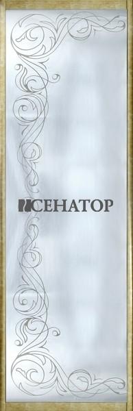 Дверь-купе с декоративным рисунком на зеркале