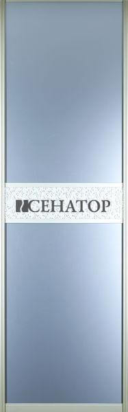 Дверь-купе , наполнение -матовое зеркало с горизонтальной вставкой из искусственной кожи
