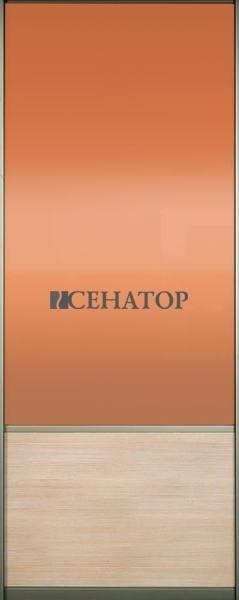Дверь-купе , комбинация цветного стекла и ДСП