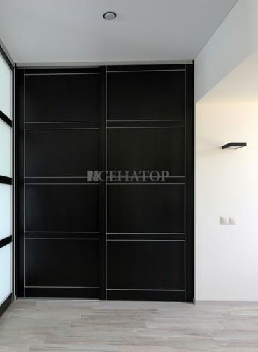 Двухстворчатый шкаф в проходной зоне между комнатами