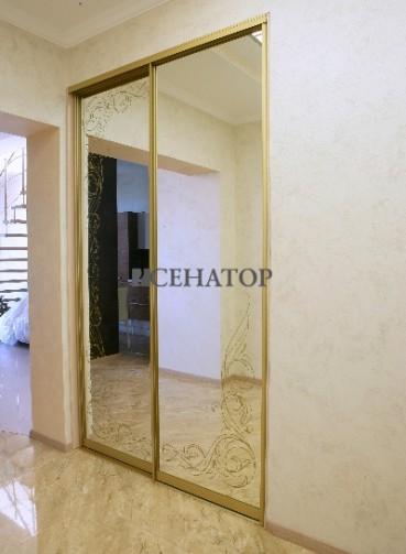 Шкаф-купе с рисунком на зеркале для дома